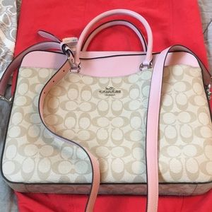 Coach pink and cream bag/laptop bag. New $165